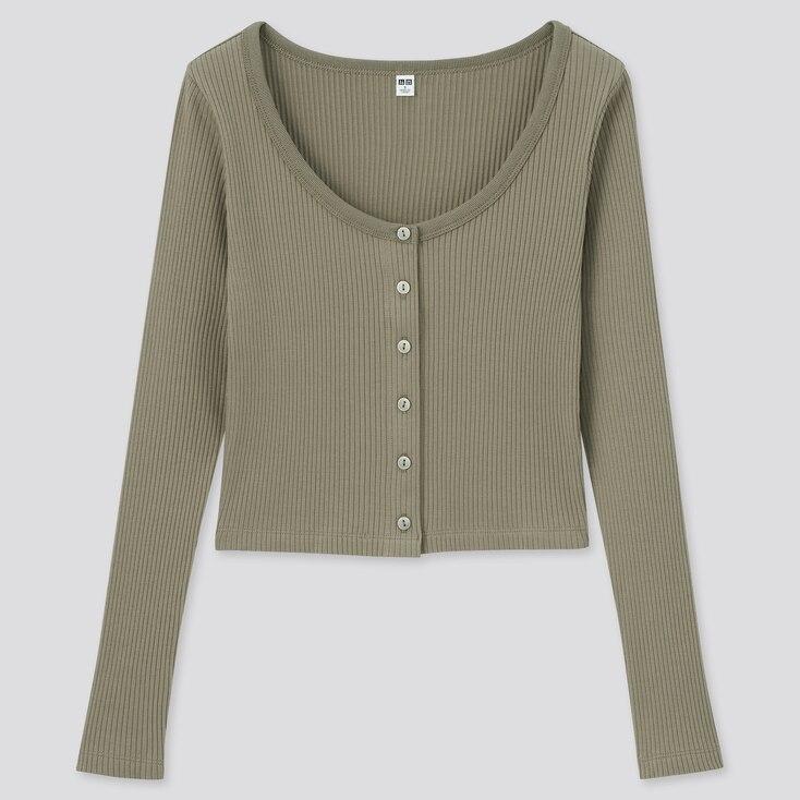 Women Cotton Ribbed Long-Sleeve Cropped Cardigan, Olive, Large