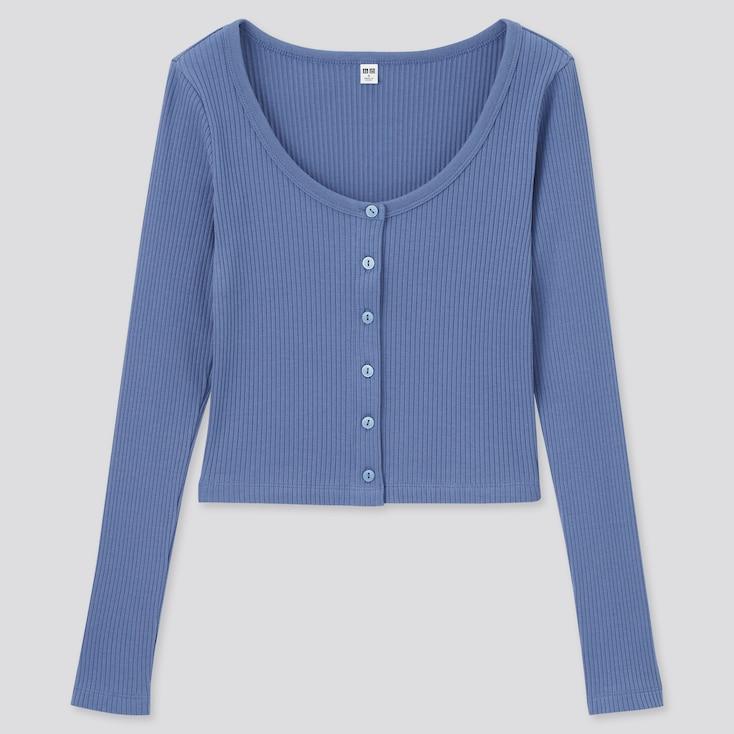 Women Cotton Ribbed Long-Sleeve Cropped Cardigan, Blue, Large