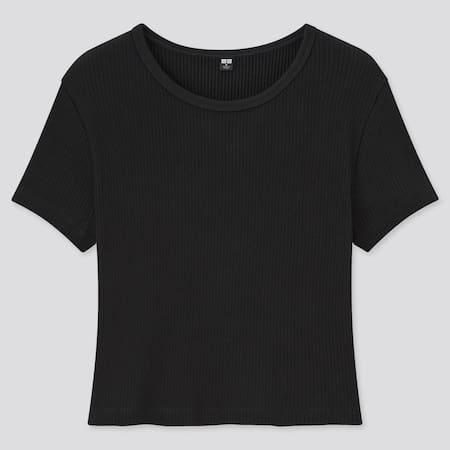 Camiseta Algodón Cuello Redondo Canalé Mujer