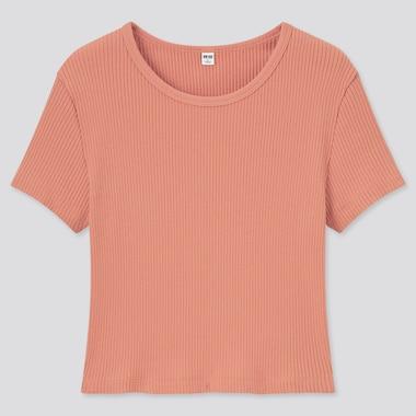 Women Cotton Ribbed Crew Neck Short-Sleeve Crop Top, Light Orange, Medium