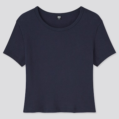 Women Cotton Ribbed Crew Neck Cropped Fit T-Shirt