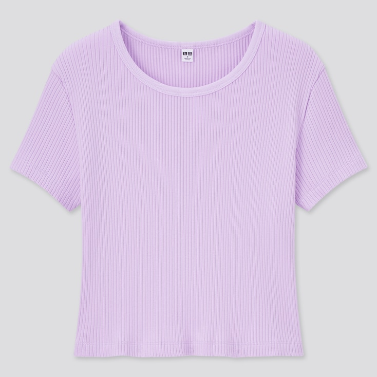 Women Cotton Ribbed Crew Neck Short-Sleeve Crop Top, Light Purple, Large