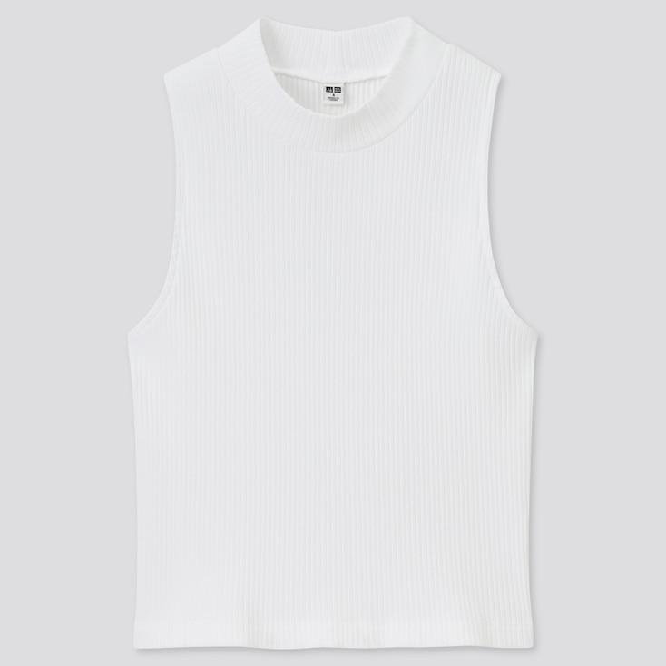 Women Cotton Ribbed High-Neck Sleeveless Crop Top, White, Large