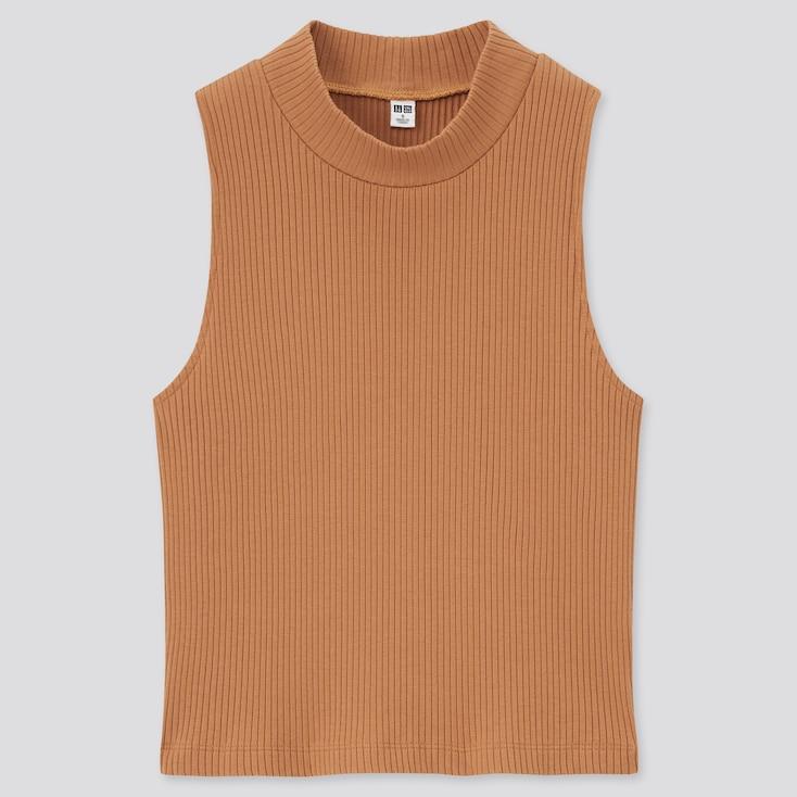 Women Cotton Ribbed High-Neck Sleeveless Crop Top, Orange, Large