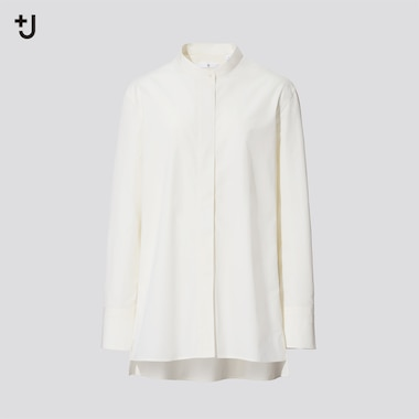 Women +J Supima Cotton Grandad Collar Shirt