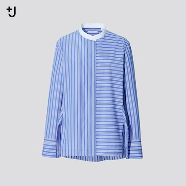 Women +J Supima Cotton Grandad Collar Striped Shirt
