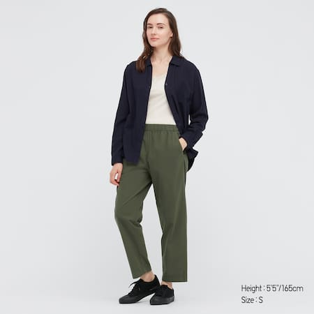 Women Cotton Relaxed Fit Ankle Length Trousers