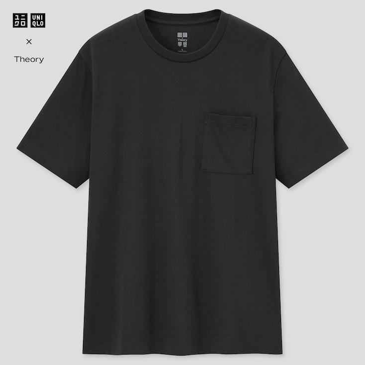 Men Airism Pique Slim-Fit Short-Sleeve T-Shirt (Theory), Black, Large