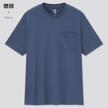 Men Airism Pique Slim-Fit Short-Sleeve T-Shirt (Theory), Blue, Medium