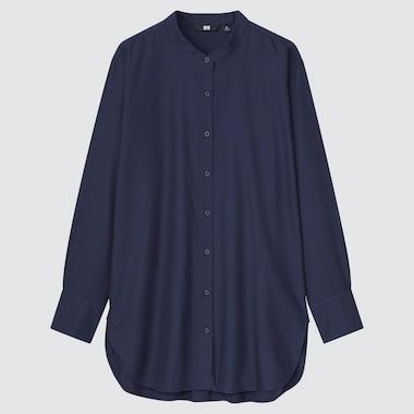 WOMEN COTTON TWILL STAND COLLAR LONG-SLEEVE SHIRT