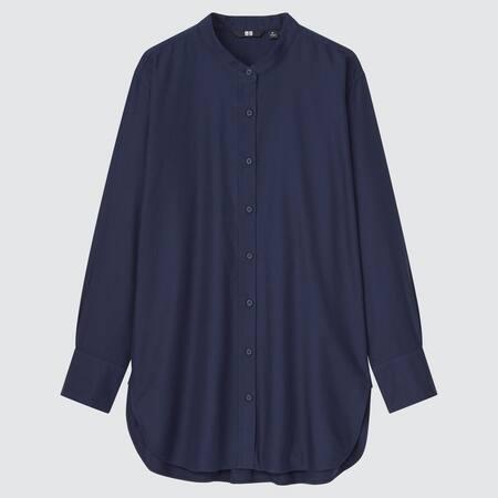Camicia Cotone Twill Taglio Lungo Colletto Alla Coreana Donna