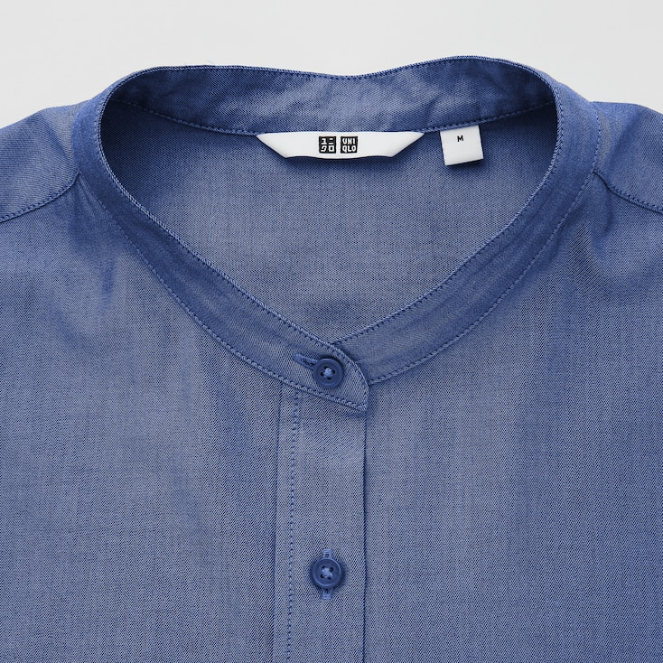 Women Cotton Twill Stand Collar Long-Sleeve Shirt, Navy, Large