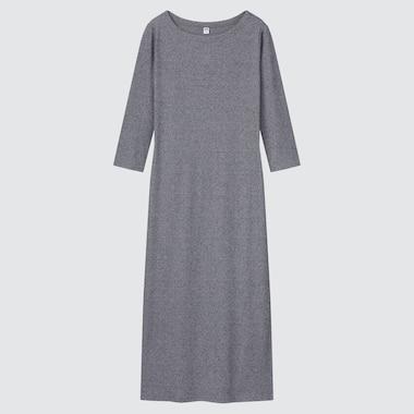 Women Ribbed Side-Slit 3/4 Sleeve Fitted Dress, Gray, Medium