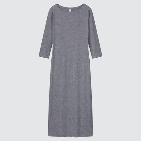 Damen Geripptes Kleid mit 3/4-Ärmeln und Seitenschlitz
