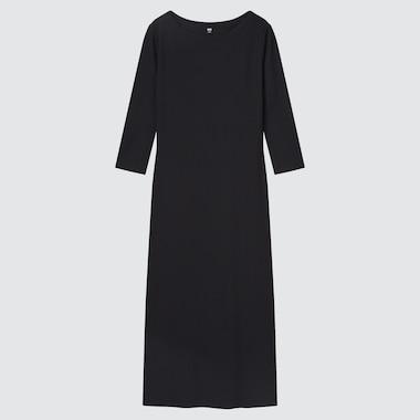 Women Ribbed Side-Slit 3/4 Sleeve Fitted Dress, Black, Medium