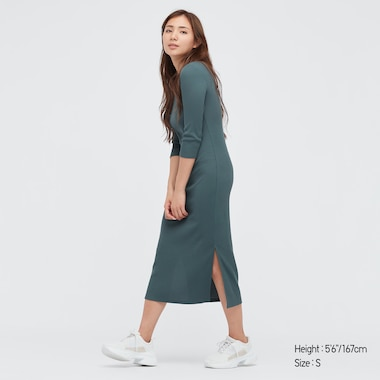 Women Ribbed Side-Slit 3/4 Sleeve Fitted Dress, Green, Medium