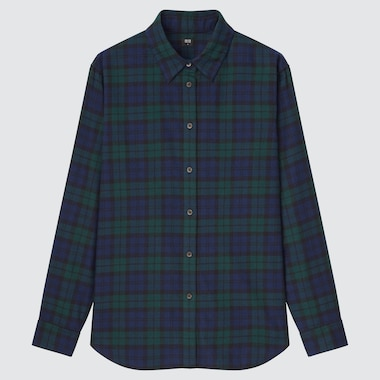 WOMEN FLANNEL CHECKED LONG-SLEEVE SHIRT