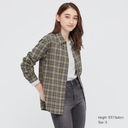 Women Light Flannel Checked Long Sleeved Shirt