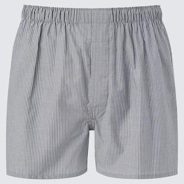 Men Woven Striped Boxers, Gray, Medium