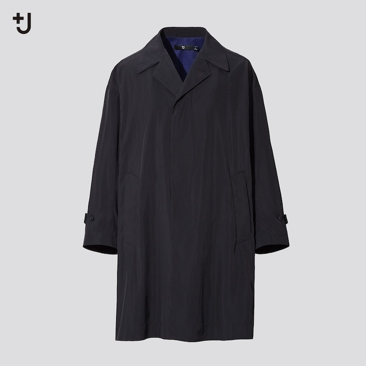 Men +J Single-Breasted Oversized Coat, Black, Large