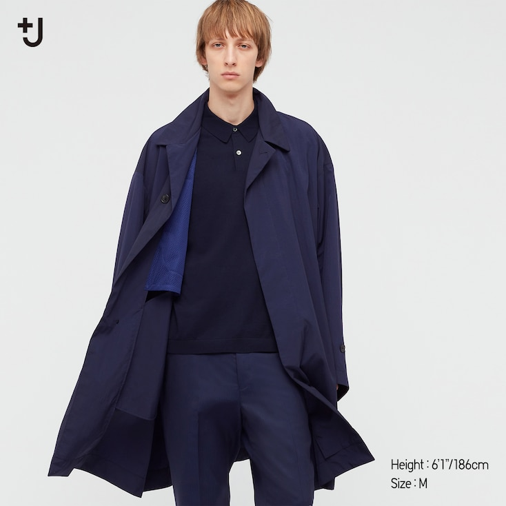 Men +J Single-Breasted Oversized Coat, Navy, Large