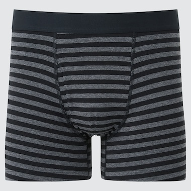Men Supima Cotton Striped Boxer Briefs, Black, Medium