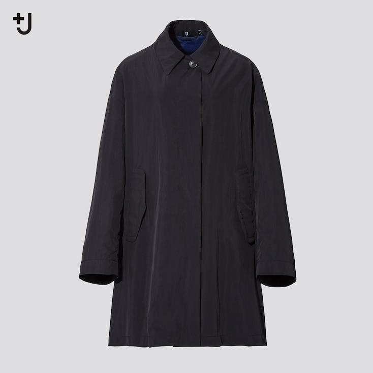 Women +J Oversized Light Coat, Black, Large