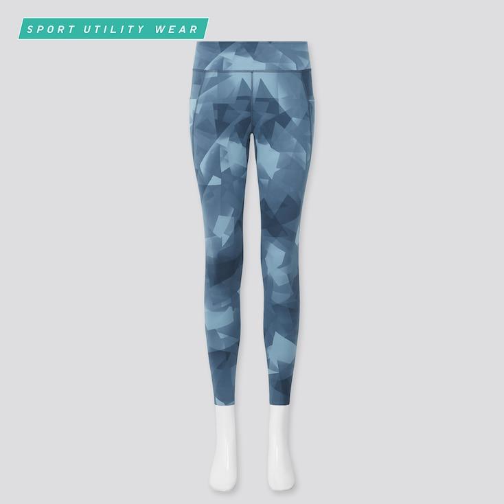 Women Airism Soft Uv Protection Printed Leggings, Blue, Large