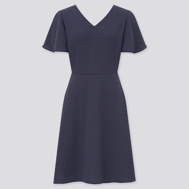 Women Drape Flare Short-Sleeve Dress, Navy, Medium