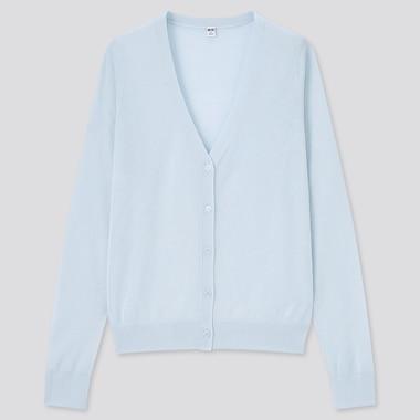 Women Light V-Neck Cardigan, Light Blue, Medium
