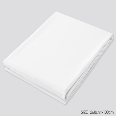 Airism Twin Size Flat Sheet, White, Medium