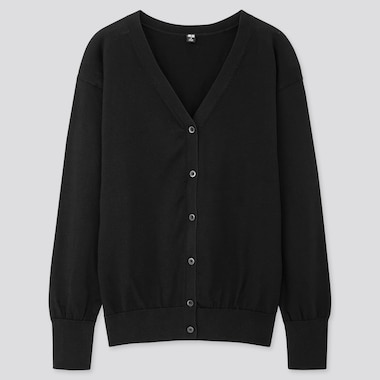 Women Uv Protection Supima Cotton V-Neck Cardigan, Black, Medium