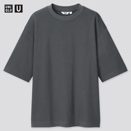 Herren Uniqlo U Oversize AIRism Baumwoll T-Shirt mit Halbarm