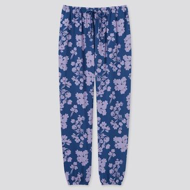 Women Printed Drape Jogger Pants, Blue, Medium