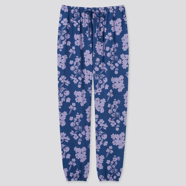 Women Printed Drape Jogger Pants, Blue, Large