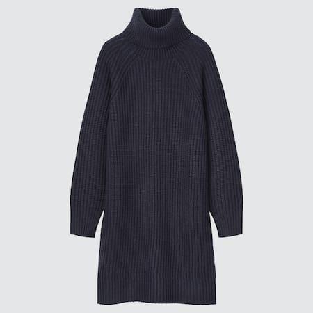 Damen Mini Strickkleid mit Rollkragen