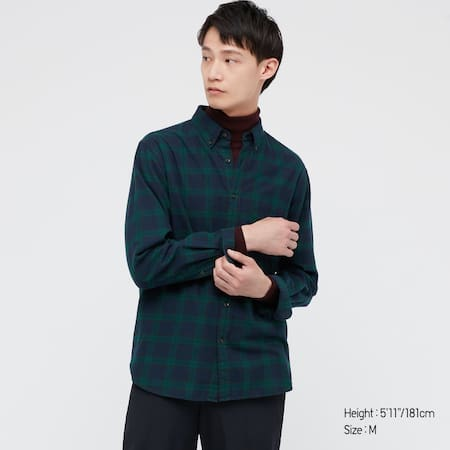 Men Flannel Checked Regular Fit Shirt (Button-Down Collar)