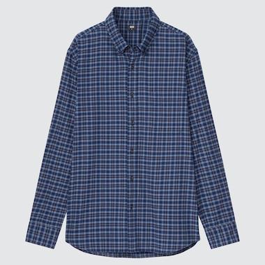 Men Flannel Checked Long-Sleeve Shirt, Blue, Medium