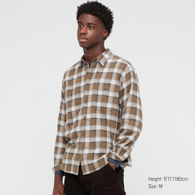 Men Flannel Checked Long-Sleeve Shirt, Brown, Medium