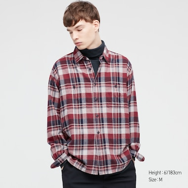 Men Flannel Checked Long-Sleeve Shirt, Red, Medium