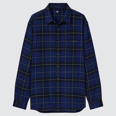 Men Flannel Checked Long-Sleeve Shirt, Navy, Medium