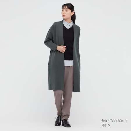 Women Smooth Soufflé Yarn Knitted Coat
