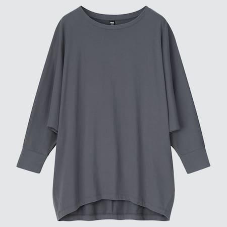 Damen Baumwoll T-Shirt mit 3/4-Fledermausärmeln