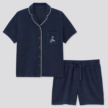Damen Peanuts UT Bedruckter kurzärmliger AIRism Pyjama mit Shorts