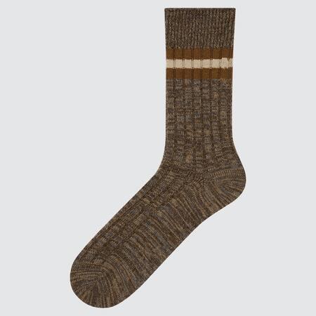 Herren Gestreifte breitgerippte HEATTECH Socken