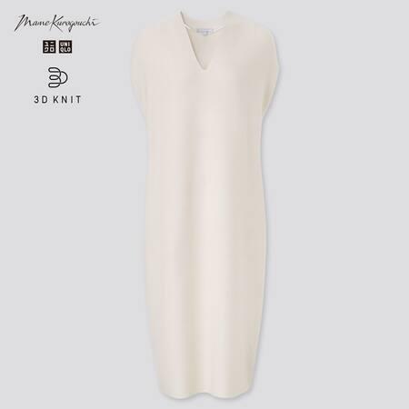 Damen Mame Kurogouchi 3D Knit nahtloses ärmelloses Cocoon Kleid