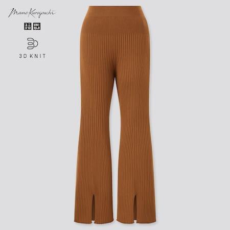 Women Mame Kurogouchi 3D Knit Seamless Ribbed Long Trousers