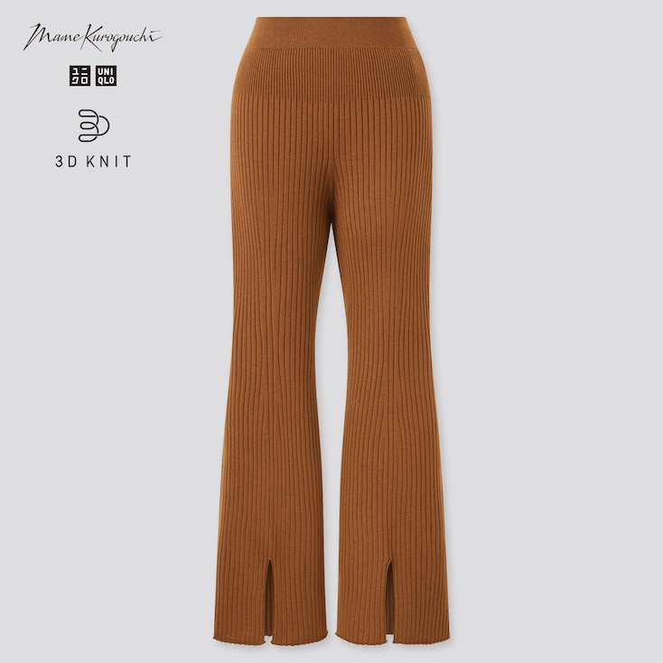 Women 3d Knit Ribbed Front Slit Long Pants (Mame Kurogouchi), Brown, Large