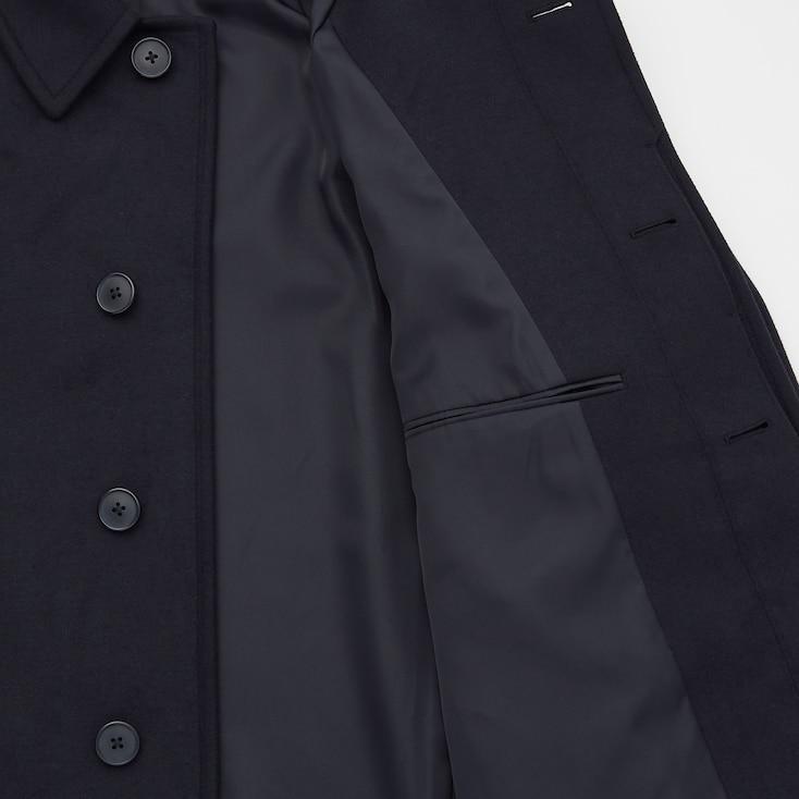 Men Balmacaan Coat, Dark Gray, Large