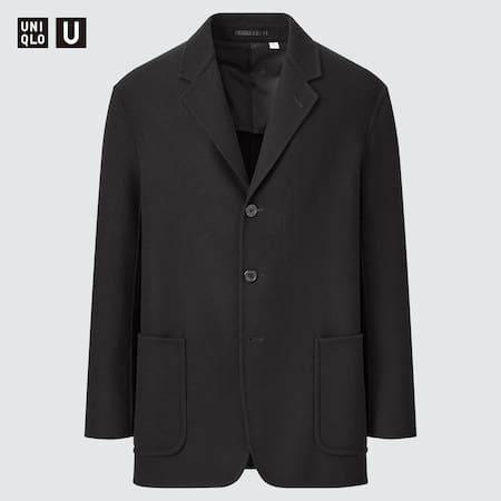 Men Uniqlo U Wool Blend Tailored Blazer Jacket